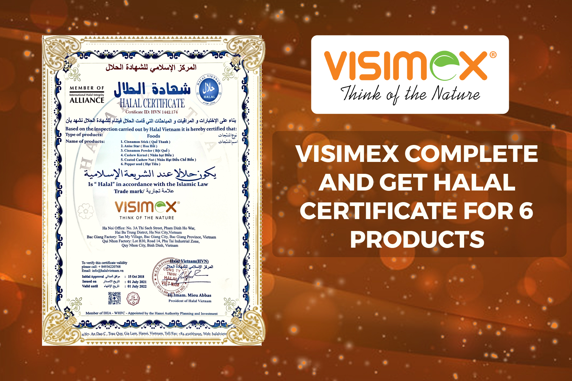 Visimex complete and get Halal certificate