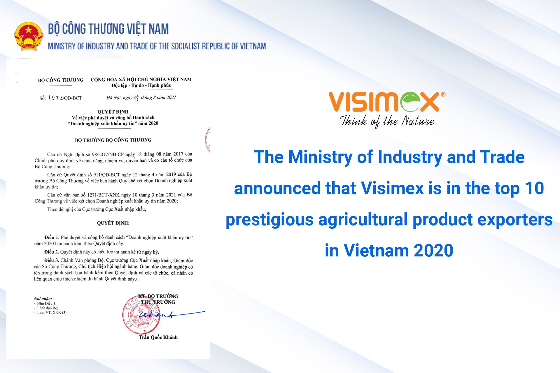 The Ministry of Industry and Trade announced that Visimex is in the top 10 prestigious agricultural product exporters in Vietnam 2020