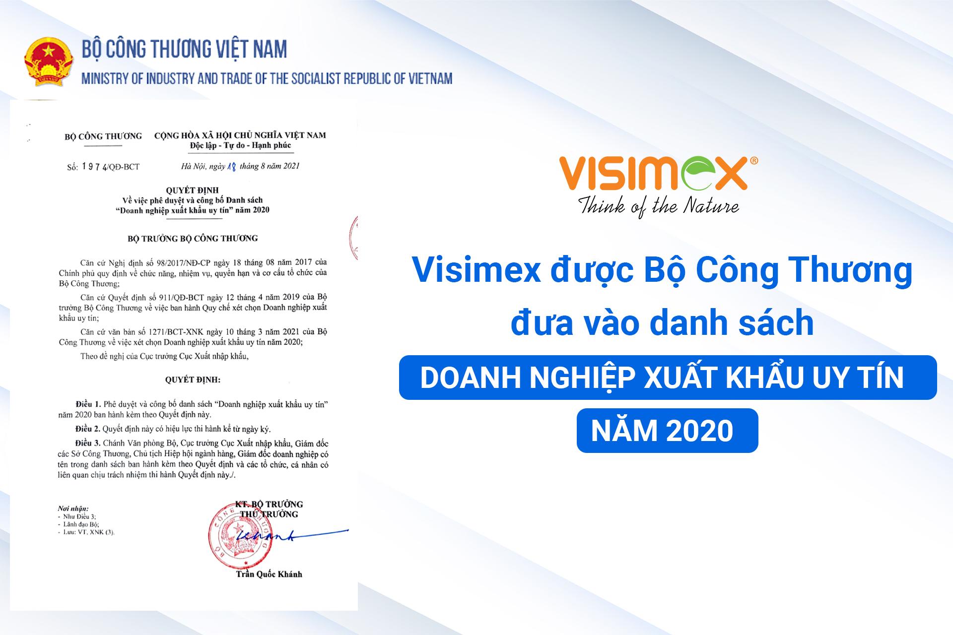 Visimex được Bộ Công Thương đưa vào danh sách Doanh nghiệp xuất khẩu uy tín năm 2020